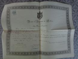 44 SAVENAY BREVET IMPRIMEUR LITHOGRAPHE AU NOM DE L'EMPEREUR GIRARD FREDERIC  SAINT NAZAIRE TIMBRE IMPERIAL  OCT 1866 - Documents Historiques