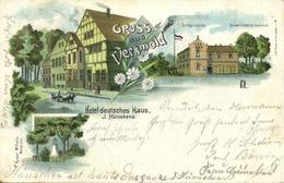 VERSMOLD, Mehrbildkarte, Hotel Deutsches Haus, J. Hünnekens (1899) Litho-AK - Versmold