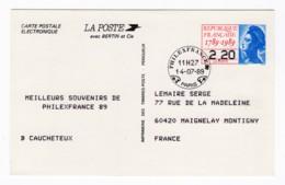 Entier Postal électronique Philex France 1989 Liberté De Gandon 2,20 Frs Cachet Du 14/07/1989 - Postal Stamped Stationery