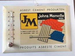 Plaque émaillée Thermomètre De 24cm/17cm . Publicité Produit Ciment Johns Manville à MOL . - Cartelli Pubblicitari
