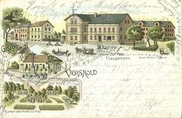 VERSMOLD, Mehrbildkarte, Hotel Zur Post Mit Garten, Ev. Kirche (1898) Litho-AK - Versmold