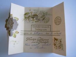 Huwelijk Mariage Gelukwensch Telegram Télégramme De Bonheur Bloemen Fleurs Sottegem 1948 - Other