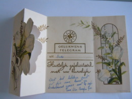Huwelijk Mariage Gelukwensch Telegram Télégramme De Bonheur Tulpen Tulipes Lede Belgium - Felicitaciones (Fiestas)