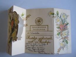 Huwelijk Mariage Gelukwensch Telegram Télégramme De Bonheur Bloemen Fleurs Wanzele Belgium - Feiern & Feste