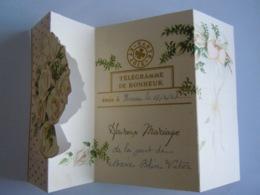 Huwelijk Mariage Gelukwensch Telegram Télégramme De Bonheur Roses Rozen Hornu 1947 Belgium - Felicitaciones (Fiestas)