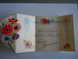 Verjaardag Anniversaire Gelukwensch Telegram Télégramme De Bonheur Anemones Aubusson 1956 France - Birthday