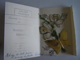 Huwelijk Mariage Geluks Telegram Télégramme De Bonheur Vlinder Narcis Papillon Narcisse - Holidays & Celebrations