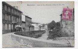 (RECTO / VERSO) MONTBRISON EN 1934 - QUAI DES EAUX MINERALES ET HOTEL DU LION D'OR ANIME - BEAU CACHET - CPA VOYAGEE - Montbrison