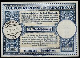 GERMANYAUSTRIA AUTRICHE ALLEMANDE OSTMARK Lo13 25 Rpf. Int. Reply Coupon Reponse IAS IRCo WIEN 2.5.44 - Brieven En Documenten