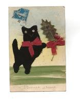 CHAT NOIR - FEUTRINE- BONNE ANNEE - Cats