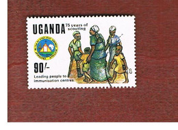 UGANDA   - SG 703   -  1989  AFRICAN SCOUT JAMBOREE: IMMUNIZATION     - USED ° - Uganda (1962-...)