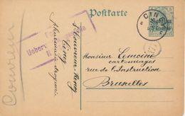 Entier Occupation N° 1 - Ciney C - 8 VII 1915 - Censure Namur - Guerre 14-18