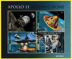 Bloc Feuillet Oblitéré De 4 Timbres-poste - Apollo 11 Returns Home - Maldives 2019 - Maldives (1965-...)