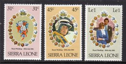 SIERRA LEONE - 1981 ROYAL WEDDING SET (3V) FINE MNH ** SG 668-670 - Sierra Leone (1961-...)