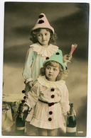 TWO PRETTY GIRLS - PIERROTS WITH CHAMPAGNE (HAND-COLOURED) / ADDRESS - FROME, SELWOOD SCHOOL, CHRISTCHURCH ST. - Ritratti