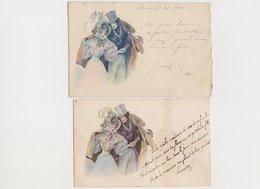 2 Cartes Fantaisie Dessinées  Style Viennoises , Même Visuel / Couple - Paare