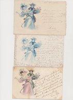 3 Cartes Fantaisie Dessinées  Style Viennoises , Même Visuel / Couple - Paare