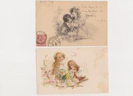 2 Cartes Fantaisie Dessinées   / Couple , Branchage Fleuri - Paare