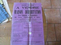 BENERVILLE LE 16 AOUT 1875 VENTE D'UNE MAISON D'HABITATION BAINS DE MER ET DEUX TERRAINS A BÂTIR 60cm/40cm TIMBRE AFFICH - Affiches