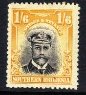Southern Rhodesia 1924 KGV 1/-6d Black & Yellow MM SG 11 ( F568 ) - Südrhodesien (...-1964)