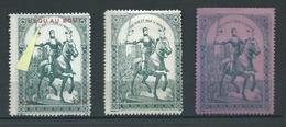 FRANCE 3 VIGNETTEs PATRIOTIQUEs -  Poster Stamp - Cinderellas War - WWI WW1 Cinderella Jeanne D'ARC - Vignettes Militaires