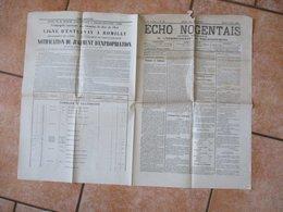 ECHO NOGENTAIS JOURNAL REPUBLICAIN DE L'ARRONDISSEMENT DE NOGENT SUR SEINE DU JEUDI 7 JUIN 1883 FÊTE REGIONALE DE GYMNAS - Giornali