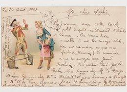 Carte Fantaisie Dessinée  / Couple / Soldat 18ème , Servante - Paare