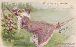 AK Frau In Hängematte - Karte Mit Glitter - Bahnpost Euskirchen-Münster - Posthilfsstelle Stotzheim - 1900 (43252) - Frauen