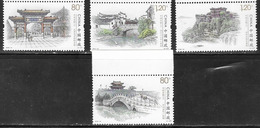 CHINA, 2019, MNH,ANCIENT CITIES, TEMPLES, BRIDGES, WATERFALLS, BOATS, 4v - Architecture