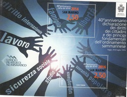 2014 San Marino Declaration Of Rights Miniature Sheet Of 2 MNH @ Well BELOW Face Value - San Marino