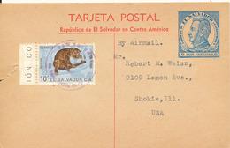 El Salvador Uprated Postal Stationery Card Sent To USA - El Salvador