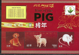 PHILIPPINES, 2019, MNH, YEAR OF THE PIG, CHINESE NEW YEAR, DOGS, RATS, CHINA EXHIBITION OVERPRINT, SHEETLET - Chinese New Year
