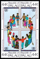 Palau, 1985, International Youth Year, UNICEF, United Nations, MNH Block, Michel 80-83 - Palau