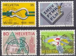 HELVETIA - SUISSE - SVIZZERA - 1988 - Serie Completa Usata Composta Da 4 Valori: Yvert 1304/1307. - Usati