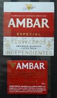 2 ETIQUETAS CERVEZA AMBAR - LA ZARAGOZANA - ESPAÑA. - Cerveza