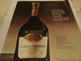 ANCIENNE PUBLICITE COMTES DE CHAMPAGNE TAITTINGER 1964 - Alcools