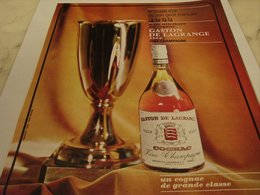 ANCIENNE PUBLICITE COUPE D OR COGNAC GASTON DE LAGRANGE 1964 - Alcools
