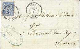 1877- Lettre Affr. 25 C Sage  Oblit. Facteur Boitier  Cad 25 De CUNFIN / AUBE - 1849-1876: Période Classique