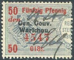 Russian Poland 1916 Gen.Gouv.Warschau German Occupation 50 Pf. Revenue Gebührenmarke Fiscal Tax Russisch Polen GGW WWI - Revenue Stamps