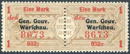 Russian Poland 1916 Gen.Gouv.Warschau German Occupation 1 Mark Revenue Gebührenmarke Fiscal Tax Russisch Polen GGW WWI - Revenue Stamps