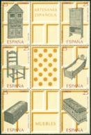 SPAIN 1991 ARTISANSHP BLOCK OF 6 PLUS 3 LABELS, FURNITURE** (MNH) - 1991-00 Nuevos & Fijasellos