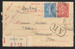 Carte Lettre Recommandée De Paris XV Pl De Vaugirard - Marcophilie (Lettres)