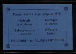POLAND 1941 WW2 POCZTA POLOWA 1ST POLISH ARMY CORPS EXILED FORCES BLUE FIELD POST FELDPOST LETTER-SEAL NHM World War II - 1939-44: 2ª Guerra Mundial