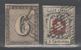SUISSE:  N°7+10 Oblitérés, FAUX Dangereux ! - 1843-1852 Kantonalmarken Und Bundesmarken