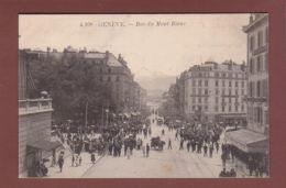 GENEVE - Rue Du Mont-Blanc Très Animée - Banderole Expositions Des Sports - GE Geneva