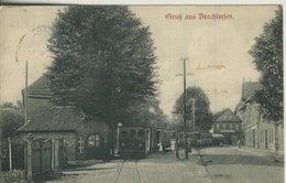 Gruss Aus Drochtersen V. 1907  Einfahrender Zug Am Bahnhof Und Gasthof Paul Tinnerburg  (57209) - Stade