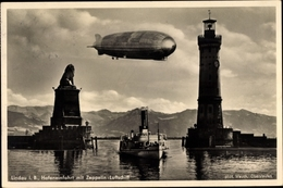 Cp Lindau Im Bodensee Schwaben, Hafeneinfahrt, Leuchtturm, Zeppelin, Luftschiff - Avions