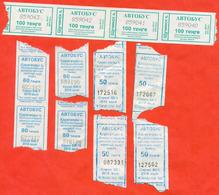 Kazakhstan 2019. City Schuchinsk And Karaganda. One Way Tickets For Bus. Lot Of 12 Tickets. - World