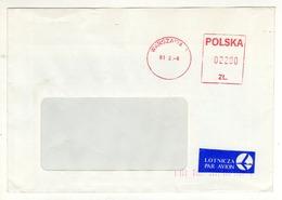 Enveloppe POLSKA POLOGNE Oblitération E.M.A. WARSZAWA 06/02/1991 - Machine Stamps (ATM)