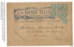 BLANC 5C BLOC DE 7 GRANDE LETTRE RECOMMANDEE TARIF IMPRIME POUR LE PORTUGAL  PARIS 1907 RARE - 1900-29 Blanc